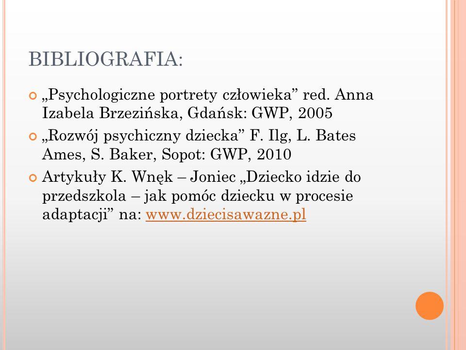 """BIBLIOGRAFIA: """"Psychologiczne portrety człowieka red. Anna Izabela Brzezińska, Gdańsk: GWP, 2005."""