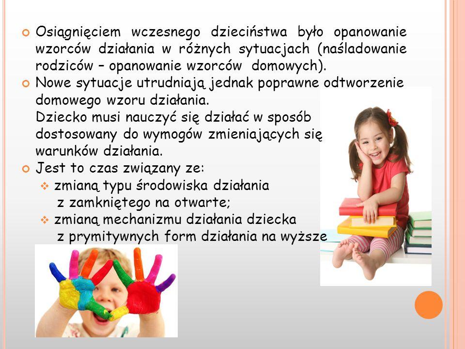 Osiągnięciem wczesnego dzieciństwa było opanowanie wzorców działania w różnych sytuacjach (naśladowanie rodziców – opanowanie wzorców domowych).