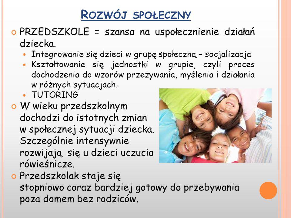 Rozwój społeczny PRZEDSZKOLE = szansa na uspołecznienie działań dziecka. Integrowanie się dzieci w grupę społeczną – socjalizacja.