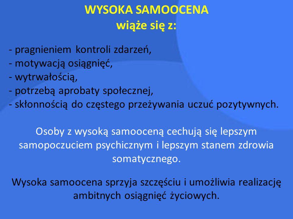 WYSOKA SAMOOCENA wiąże się z: