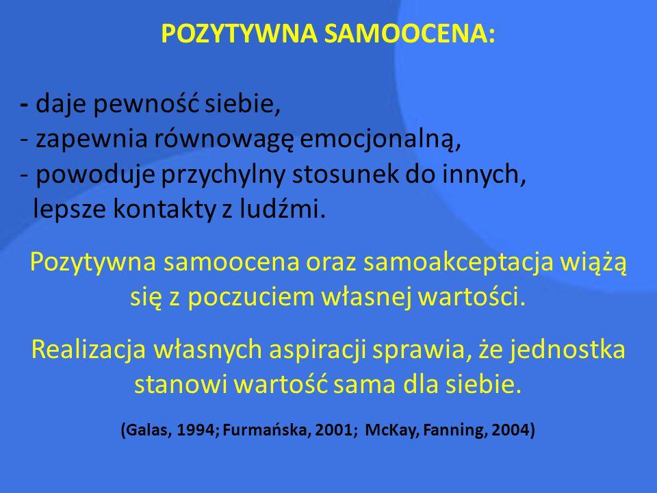 (Galas, 1994; Furmańska, 2001; McKay, Fanning, 2004)