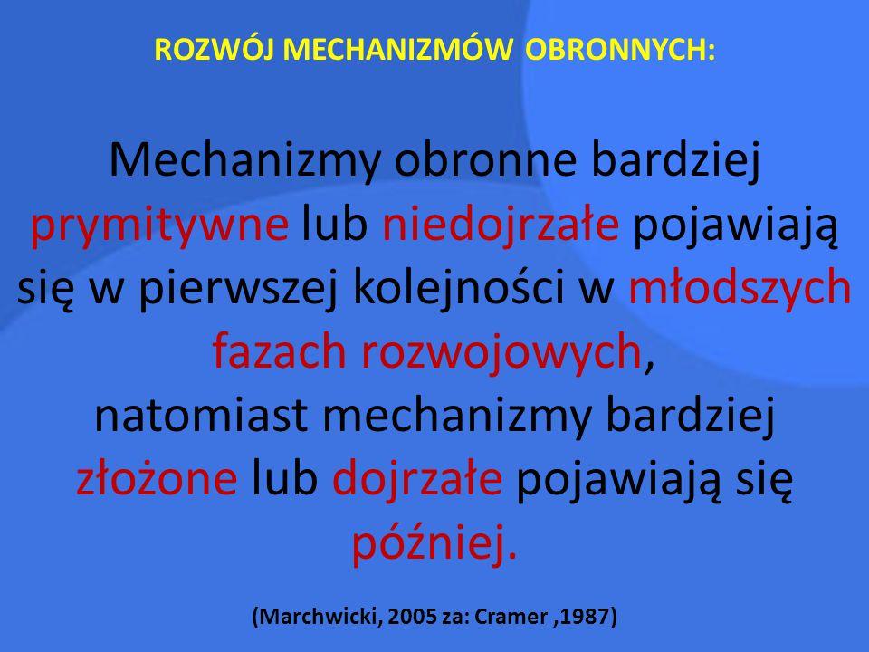 ROZWÓJ MECHANIZMÓW OBRONNYCH: (Marchwicki, 2005 za: Cramer ,1987)