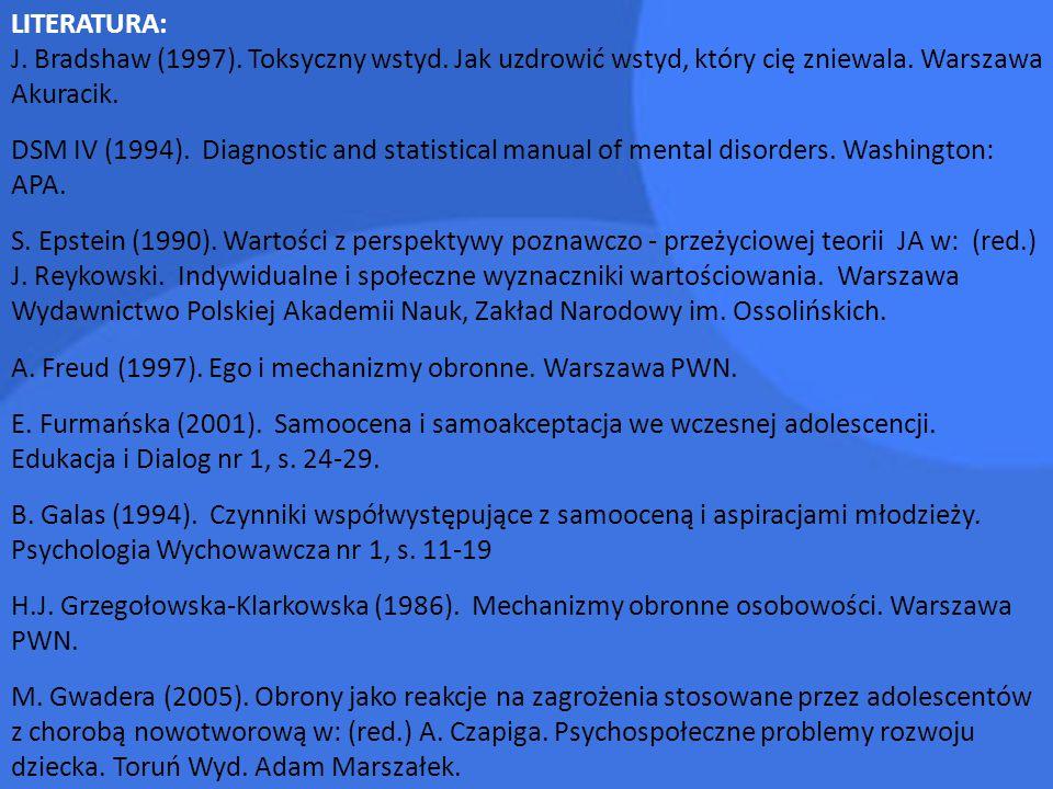 LITERATURA: J. Bradshaw (1997). Toksyczny wstyd. Jak uzdrowić wstyd, który cię zniewala. Warszawa Akuracik.