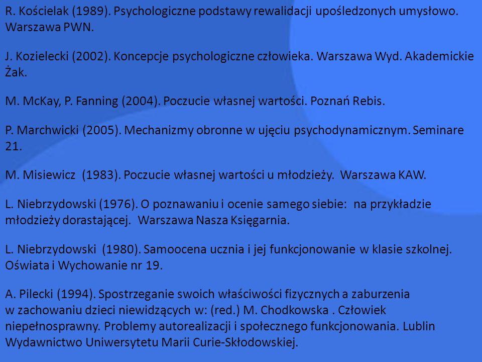 R. Kościelak (1989). Psychologiczne podstawy rewalidacji upośledzonych umysłowo. Warszawa PWN.
