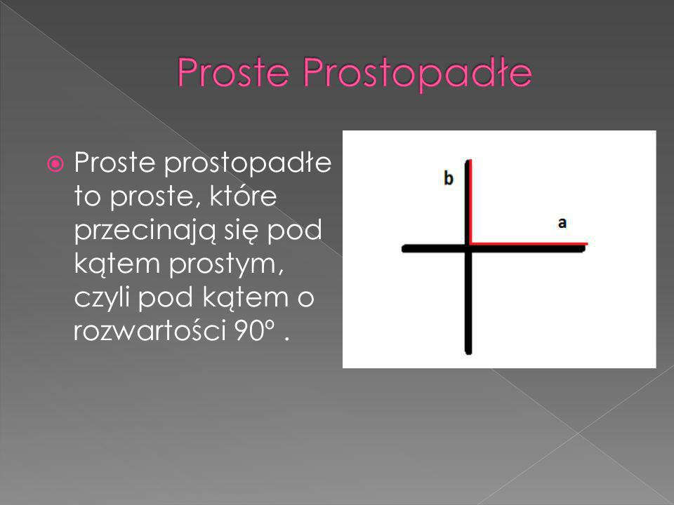 Proste Prostopadłe Proste prostopadłe to proste, które przecinają się pod kątem prostym, czyli pod kątem o rozwartości 90º .