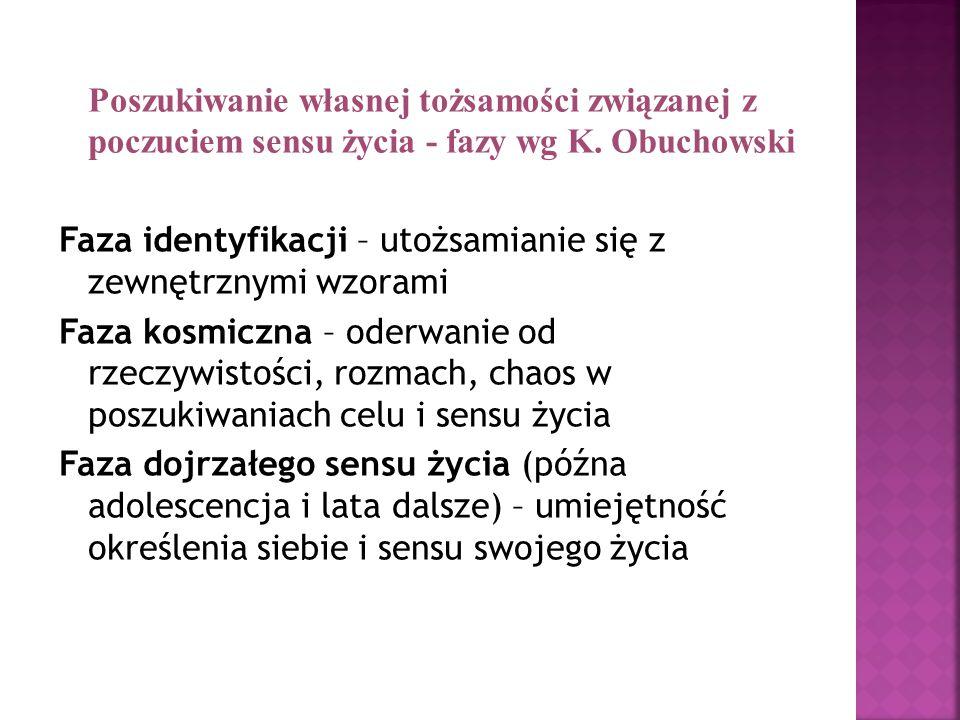 Poszukiwanie własnej tożsamości związanej z poczuciem sensu życia - fazy wg K.