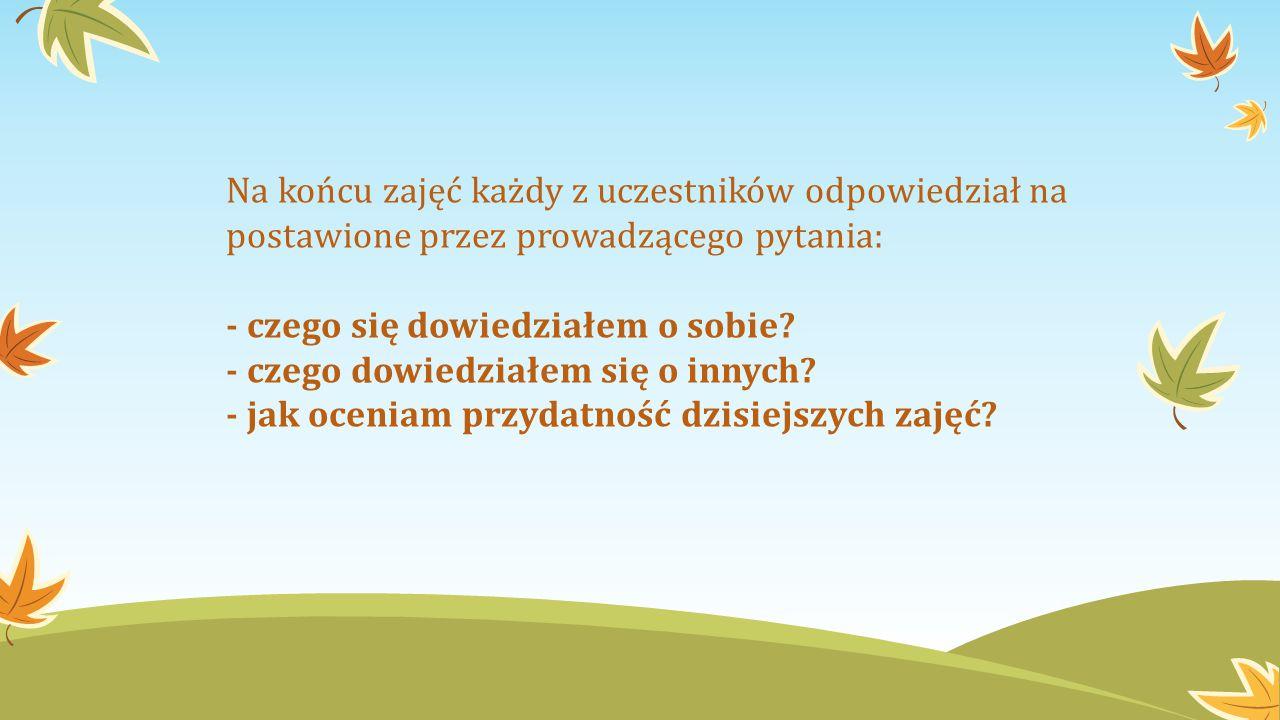Na końcu zajęć każdy z uczestników odpowiedział na postawione przez prowadzącego pytania:
