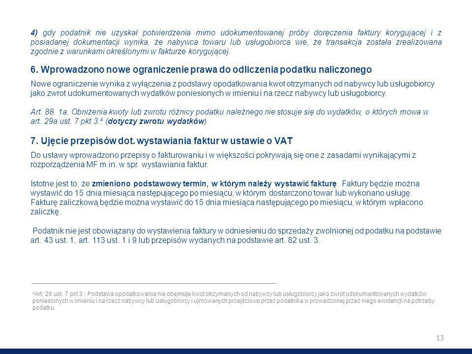 7. Ujęcie przepisów dot. wystawiania faktur w ustawie o VAT