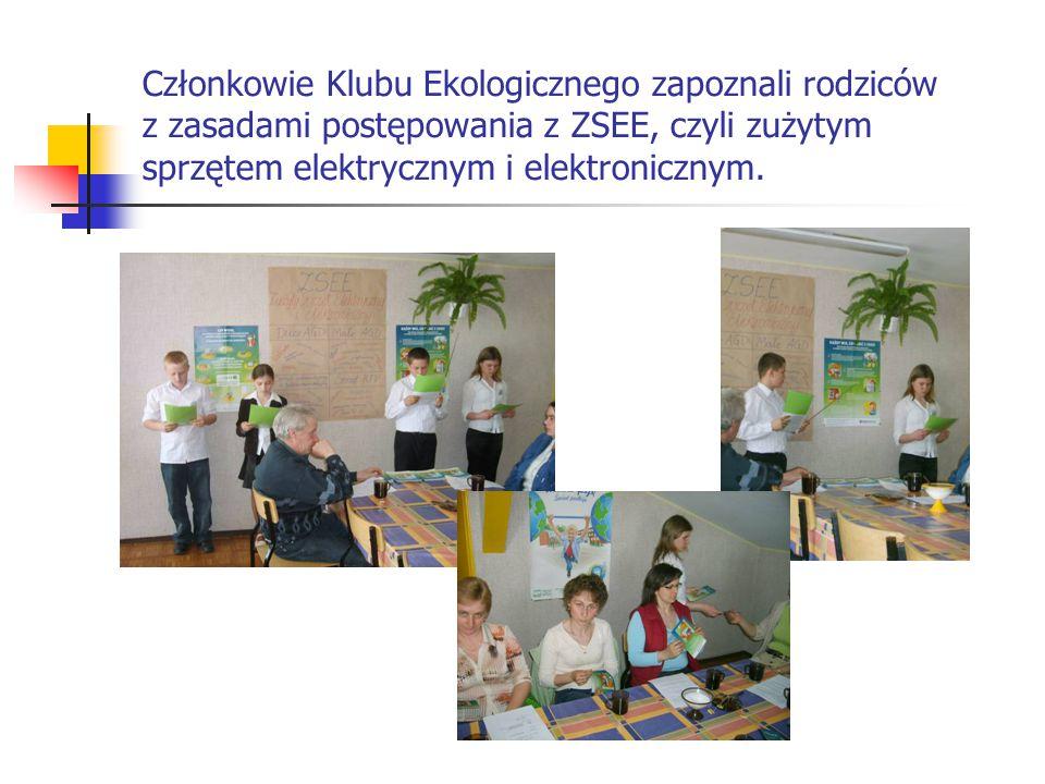 Członkowie Klubu Ekologicznego zapoznali rodziców z zasadami postępowania z ZSEE, czyli zużytym sprzętem elektrycznym i elektronicznym.