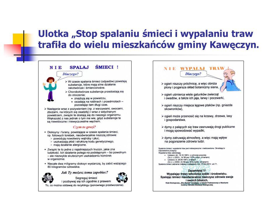"""Ulotka """"Stop spalaniu śmieci i wypalaniu traw trafiła do wielu mieszkańców gminy Kawęczyn."""