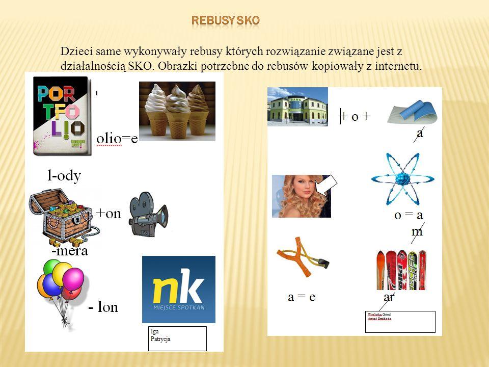 rebusy sko Dzieci same wykonywały rebusy których rozwiązanie związane jest z działalnością SKO.