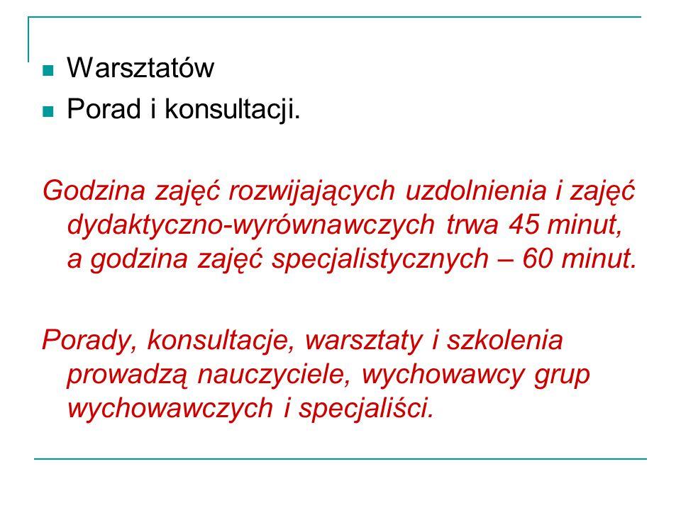 Warsztatów Porad i konsultacji.