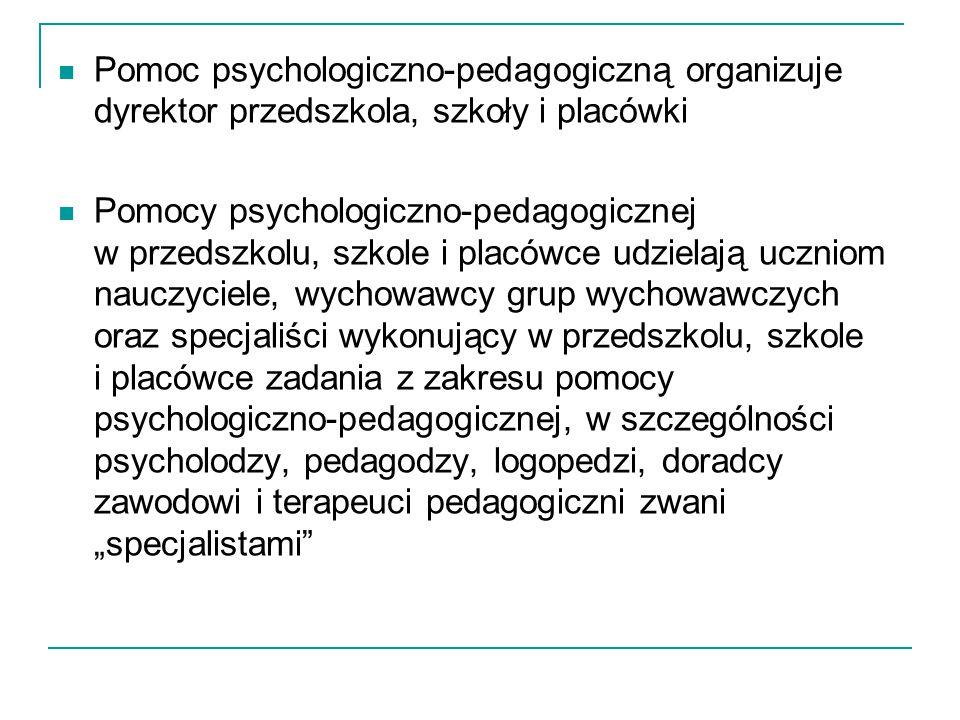 Pomoc psychologiczno-pedagogiczną organizuje dyrektor przedszkola, szkoły i placówki