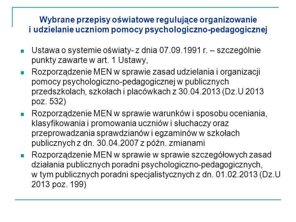Wybrane przepisy oświatowe regulujące organizowanie i udzielanie uczniom pomocy psychologiczno-pedagogicznej
