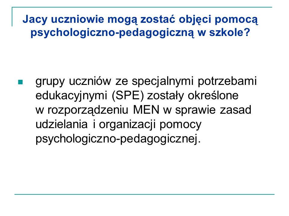 Jacy uczniowie mogą zostać objęci pomocą psychologiczno-pedagogiczną w szkole