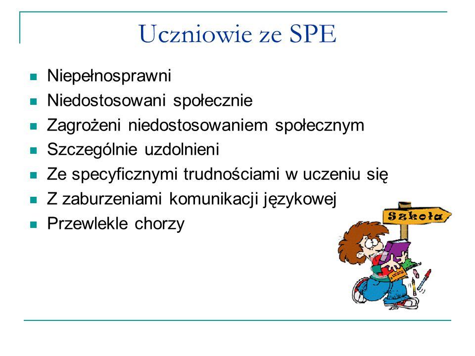 Uczniowie ze SPE Niepełnosprawni Niedostosowani społecznie