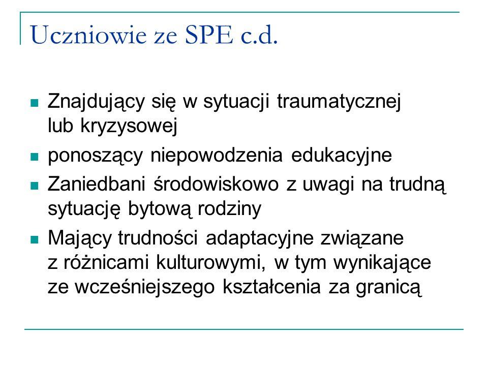 Uczniowie ze SPE c.d. Znajdujący się w sytuacji traumatycznej lub kryzysowej. ponoszący niepowodzenia edukacyjne.