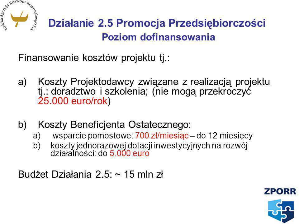 Działanie 2.5 Promocja Przedsiębiorczości Poziom dofinansowania
