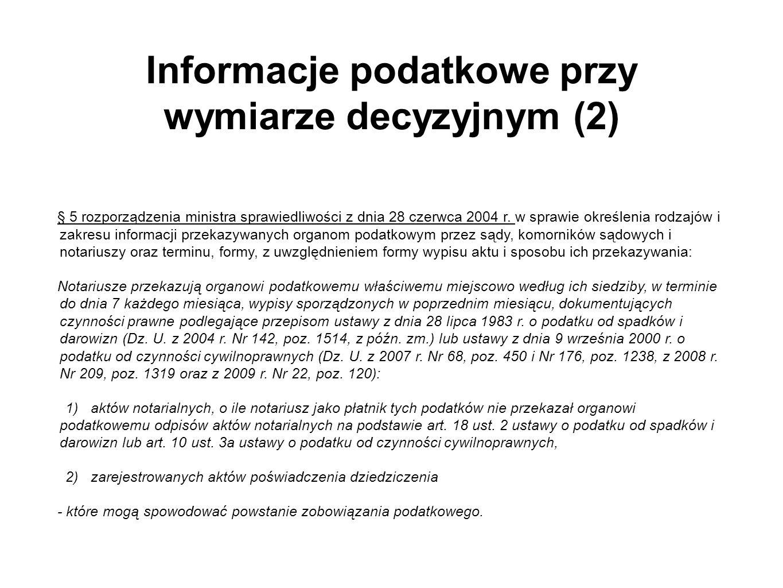 Informacje podatkowe przy wymiarze decyzyjnym (2)