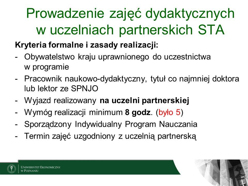 Prowadzenie zajęć dydaktycznych w uczelniach partnerskich STA