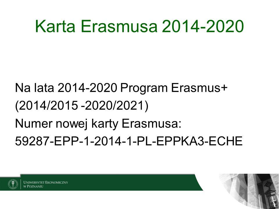 Karta Erasmusa 2014-2020 Na lata 2014-2020 Program Erasmus+