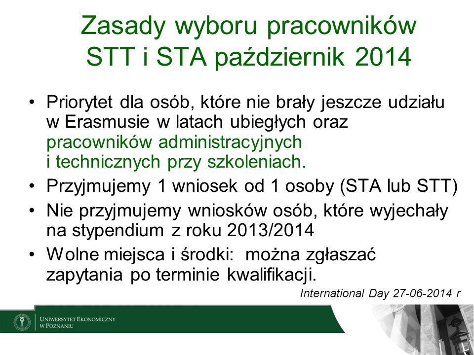 Zasady wyboru pracowników STT i STA październik 2014