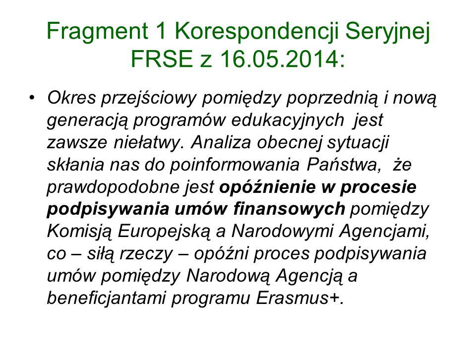Fragment 1 Korespondencji Seryjnej FRSE z 16.05.2014: