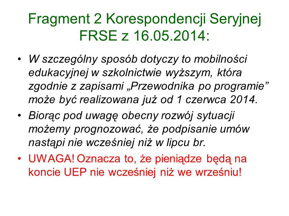 Fragment 2 Korespondencji Seryjnej FRSE z 16.05.2014: