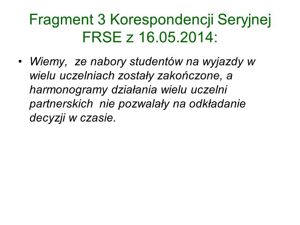 Fragment 3 Korespondencji Seryjnej FRSE z 16.05.2014: