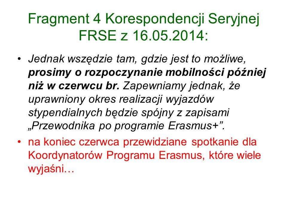 Fragment 4 Korespondencji Seryjnej FRSE z 16.05.2014: