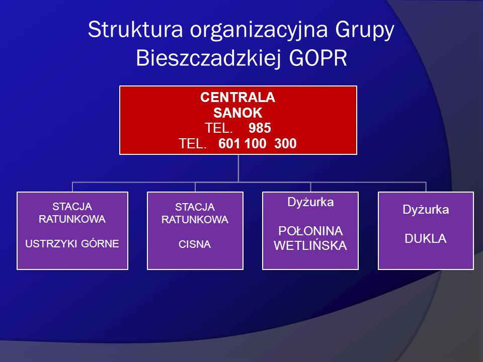 Struktura organizacyjna Grupy Bieszczadzkiej GOPR
