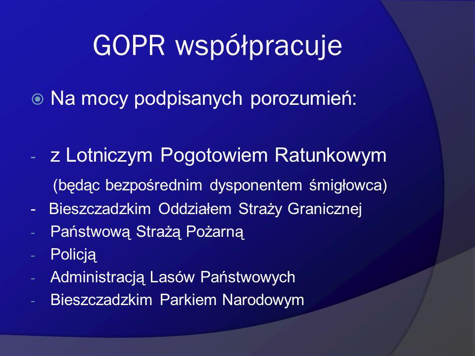 GOPR współpracuje Na mocy podpisanych porozumień: