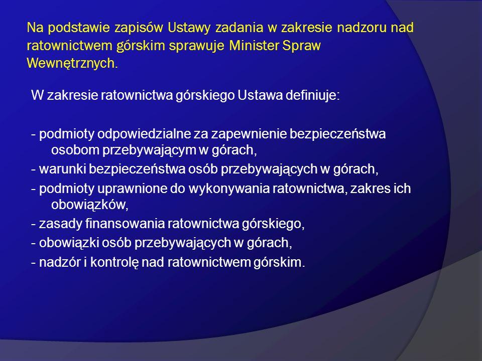 Na podstawie zapisów Ustawy zadania w zakresie nadzoru nad ratownictwem górskim sprawuje Minister Spraw Wewnętrznych.