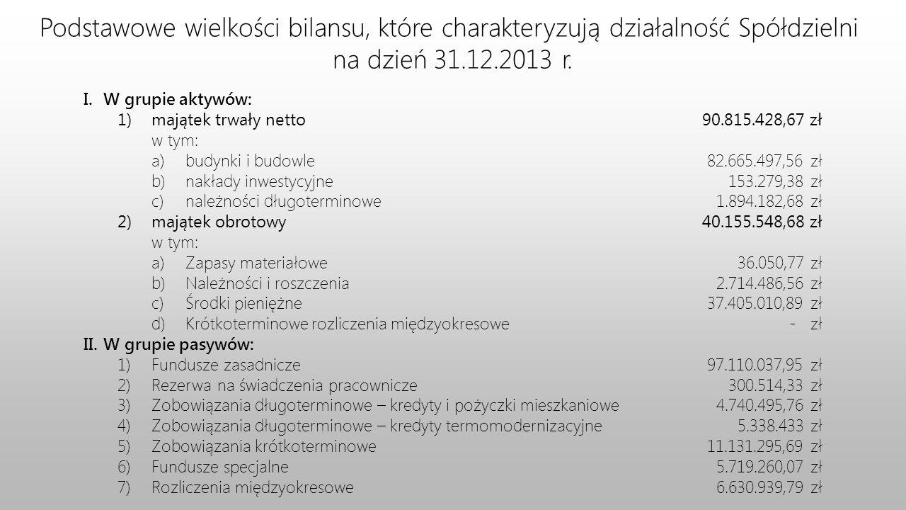 Podstawowe wielkości bilansu, które charakteryzują działalność Spółdzielni na dzień 31.12.2013 r.