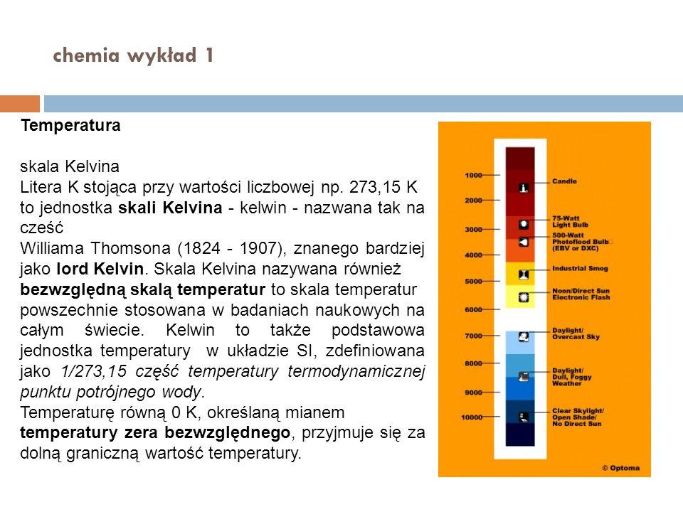 chemia wykład 1 Temperatura skala Kelvina