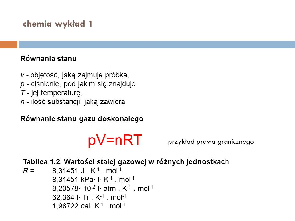 pV=nRT chemia wykład 1 Równania stanu