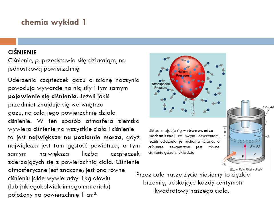 chemia wykład 1 CIŚNIENIE