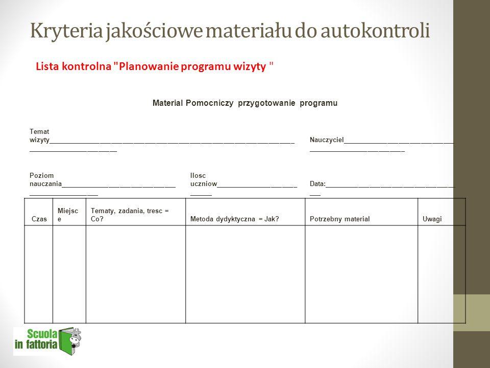 Kryteria jakościowe materiału do autokontroli