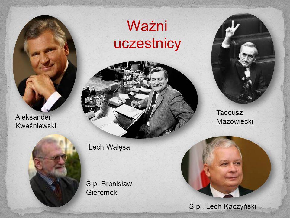 Ważni uczestnicy Tadeusz Aleksander Kwaśniewski Mazowiecki Lech Wałęsa