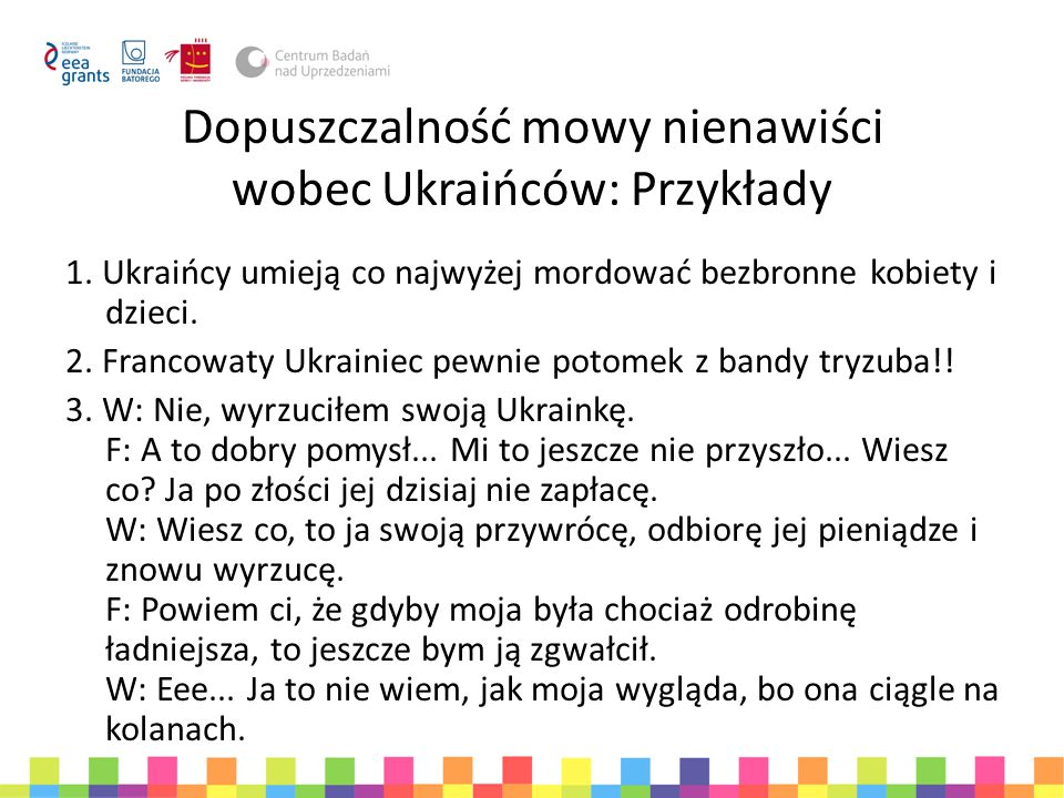Dopuszczalność mowy nienawiści wobec Ukraińców: Przykłady