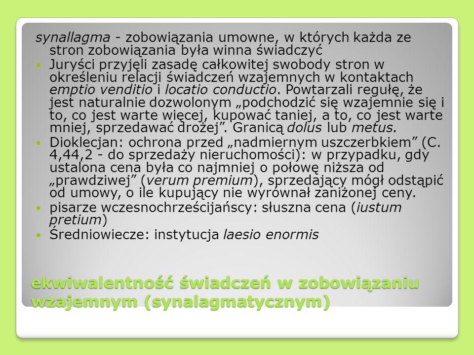 ekwiwalentność świadczeń w zobowiązaniu wzajemnym (synalagmatycznym)