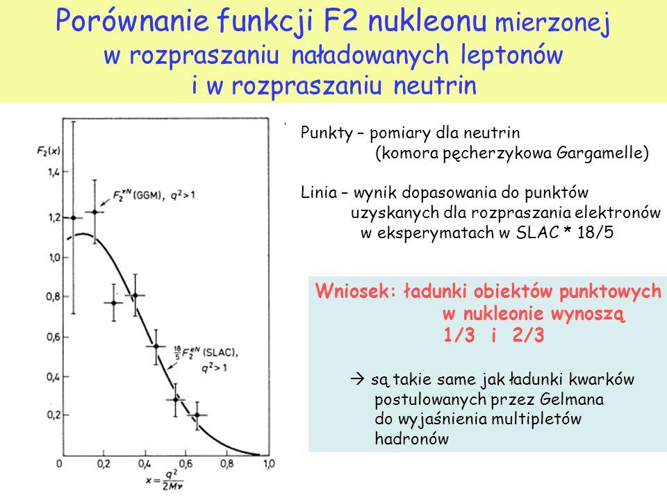 Porównanie funkcji F2 nukleonu mierzonej w rozpraszaniu naładowanych leptonów i w rozpraszaniu neutrin