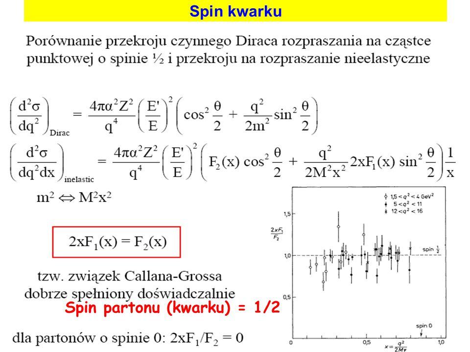 Spin partonu (kwarku) = 1/2