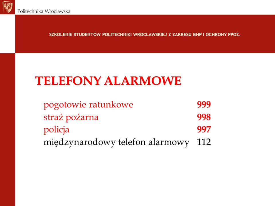 TELEFONY ALARMOWE pogotowie ratunkowe 999 straż pożarna 998