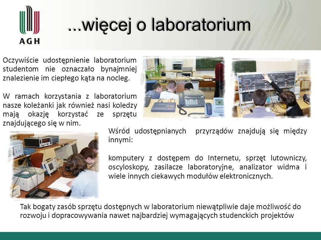 ...więcej o laboratorium Oczywiście udostępnienie laboratorium studentom nie oznaczało bynajmniej znalezienie im ciepłego kąta na nocleg.
