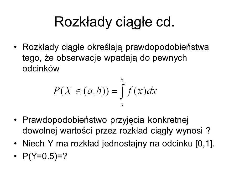 Rozkłady ciągłe cd. Rozkłady ciągłe określają prawdopodobieństwa tego, że obserwacje wpadają do pewnych odcinków.
