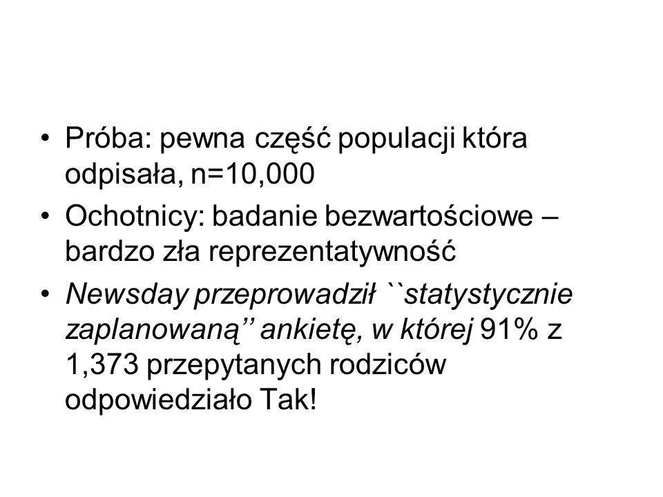 Próba: pewna część populacji która odpisała, n=10,000