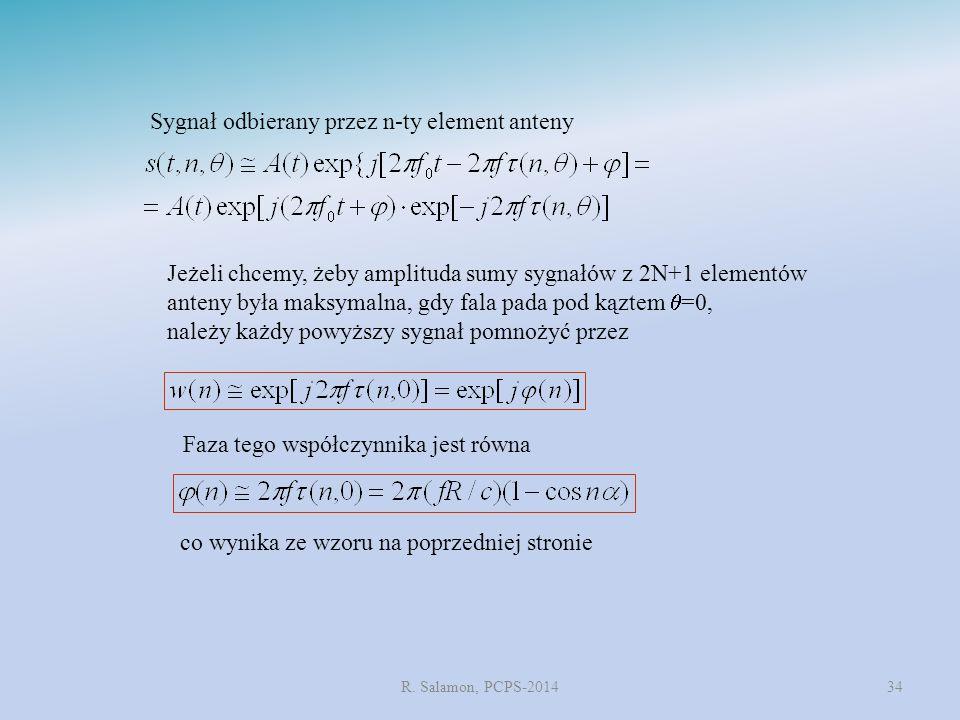 Sygnał odbierany przez n-ty element anteny