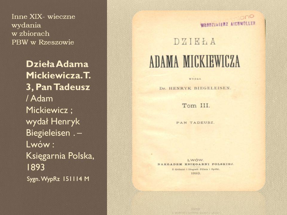 Inne XIX- wieczne wydania w zbiorach PBW w Rzeszowie
