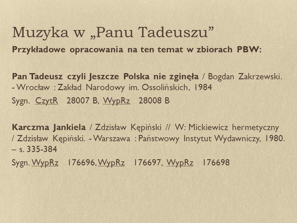 "Muzyka w ""Panu Tadeuszu"